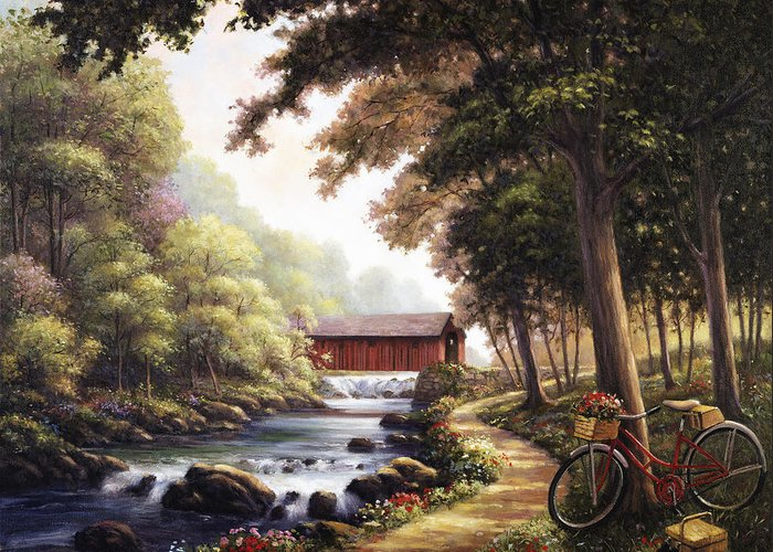 John Greeting Card featuring the painting The Covered Bridge by John Zaccheo