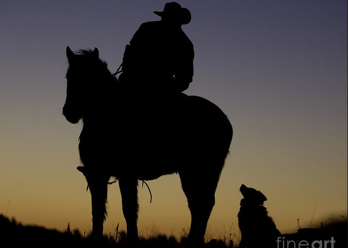 Cowboys Greeting Card featuring the photograph The Cowboy And His Dog by Carol Walker