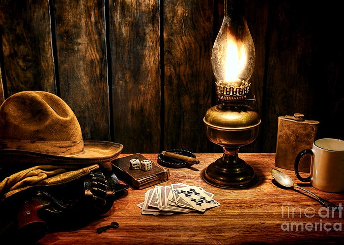 Cowboy Greeting Card featuring the photograph The Cowboy Nightstand by Olivier Le Queinec
