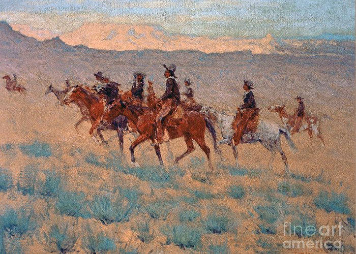 Remington Greeting Card featuring the painting The Cowpunchers by Frederic Remington