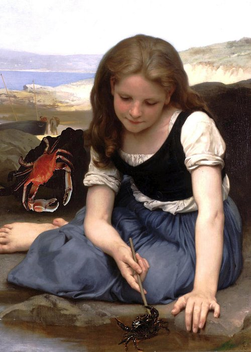 Classic Art With An Error Greeting Card featuring the digital art The Crab-1869 by William Adolphe Bouguereau