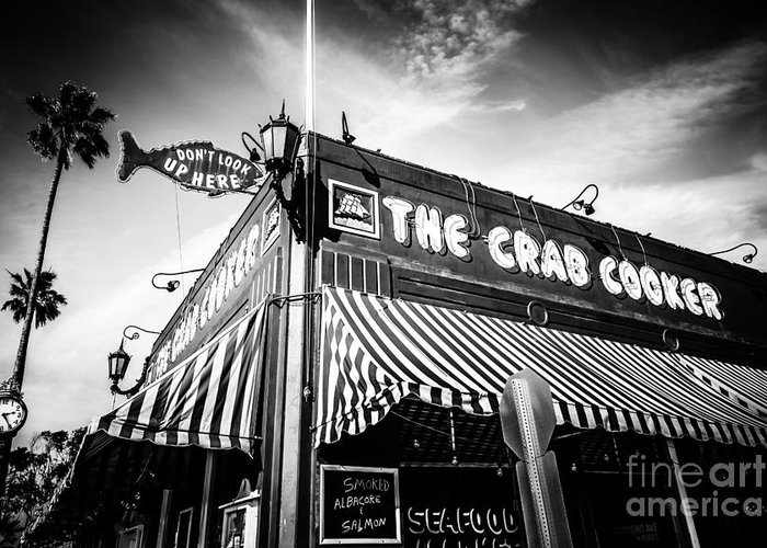 America Greeting Card featuring the photograph The Crab Cooker Newport Beach Black And White Photo by Paul Velgos