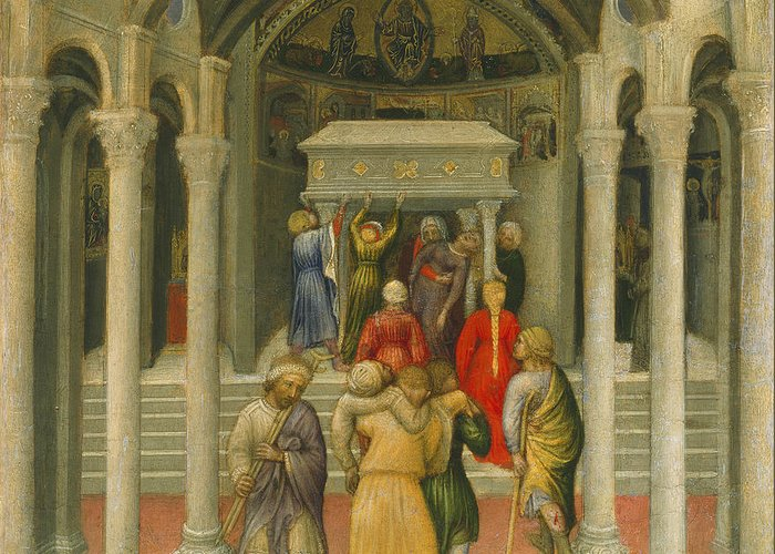 Miracle; Pilgrims; Pilgrim; St; Nicholas's; Carrying; Lame; Cripple Greeting Card featuring the painting The Crippled And Sick Cured At The Tomb Of Saint Nicholas by Gentile da Fabriano