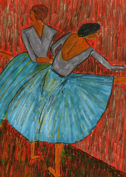 Dancers Greeting Card featuring the mixed media The Dancers by John Giardina