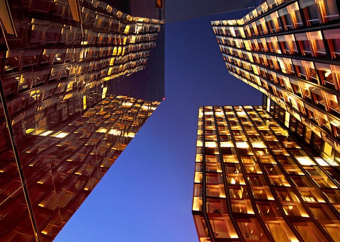 Architectur Greeting Card featuring the photograph The Dancing Towers by Marc Huebner
