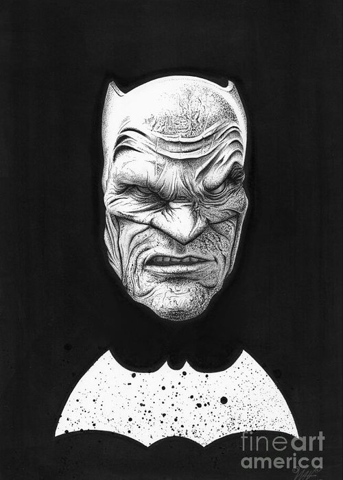 Batman Greeting Card featuring the drawing The Dark Knight by Wave