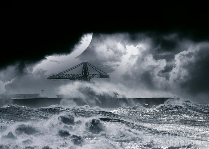 The Dark Greeting Card featuring the photograph The Dark Storm by Boon Mee