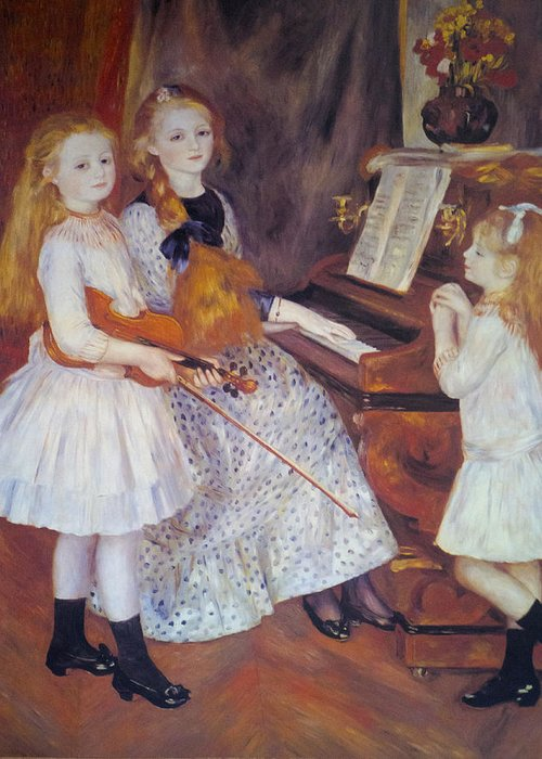 The Daughters Of Catulle Mendes Greeting Card featuring the digital art The Daughters Of Catulle Mendes by Pierre Auguste Renoir