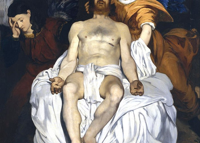 Edouard Manet Greeting Card featuring the digital art The Dead Christ With Angels by Edouard Manet