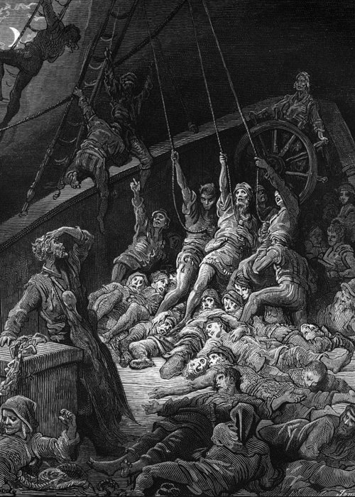 Sailor; Vessel; Ship; Sea; Miracle; Miraculous; Albatross; Scene From 'the Rime Of The Ancient Mariner' By S T; Coleridge; 1772-1834; 1876; Engraving; Dore Greeting Card featuring the drawing The Dead Sailors Rise Up And Start To Work The Ropes Of The Ship So That It Begins To Move by Gustave Dore