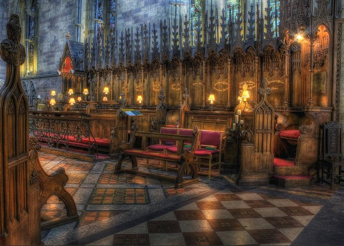 Cathedral Greeting Card featuring the pyrography The Dean's Seat by Ian Mitchell