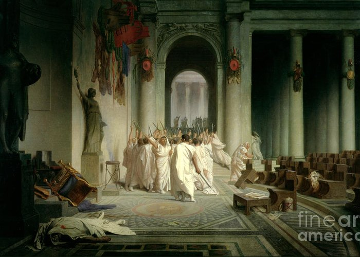 The Death Of Caesar Greeting Card featuring the painting The Death Of Caesar by Jean Leon Gerome