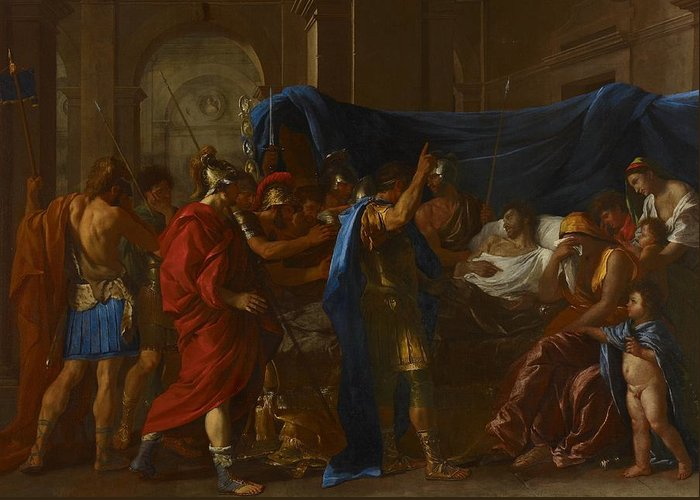 Death; Germanicus; Roman; General; Male; Soldier; Soldiers; Deathbed; Wife; Grief; Grieving; Sad; Sadness; Sorrow; Poisoned; Classical; History Painting Greeting Card featuring the painting The Death Of Germanicus by Nicolas Poussin
