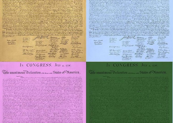 The Declaration Of Independence Greeting Card featuring the photograph The Declaration Of Independence In Colors by Rob Hans
