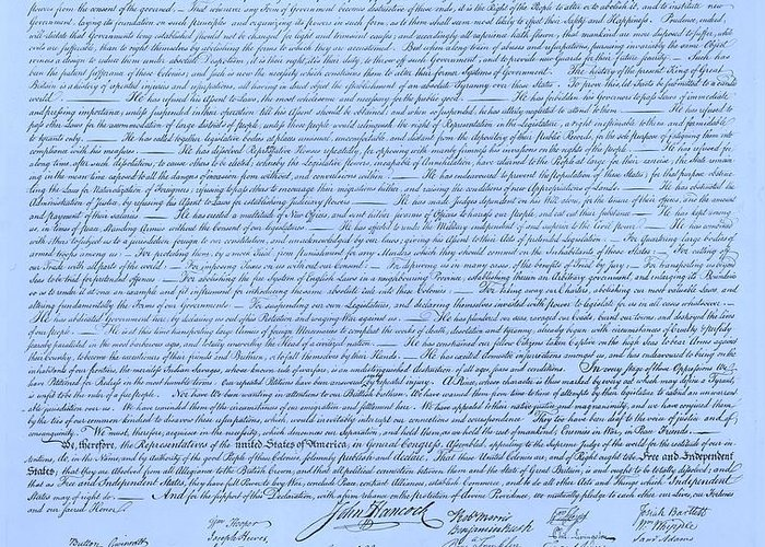 The Declaration Of Independence Greeting Card featuring the photograph The Declaration Of Independence In Cyan by Rob Hans
