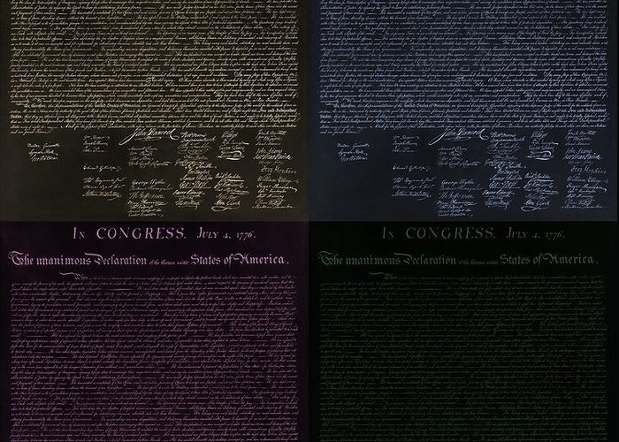 The Declaration Of Independence Greeting Card featuring the photograph The Declaration Of Independence In Negative Colors by Rob Hans