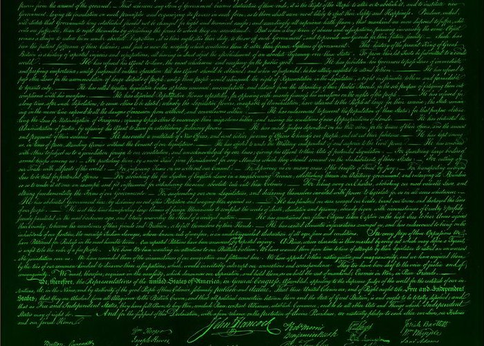 The Declaration Of Independence Greeting Card featuring the photograph The Declaration Of Independence In Negative Green by Rob Hans