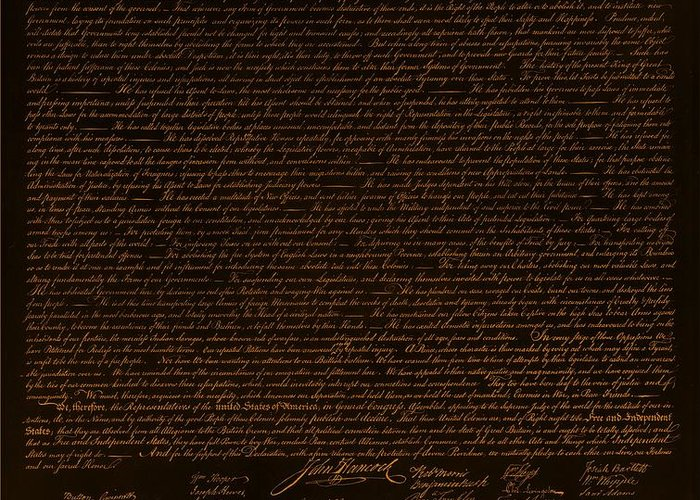 The Declaration Of Independence Greeting Card featuring the photograph The Declaration Of Independence In Negative Orange by Rob Hans