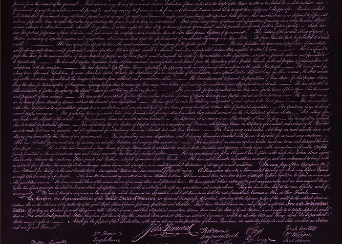 The Declaration Of Independence Greeting Card featuring the photograph The Declaration Of Independence In Negative Pink by Rob Hans