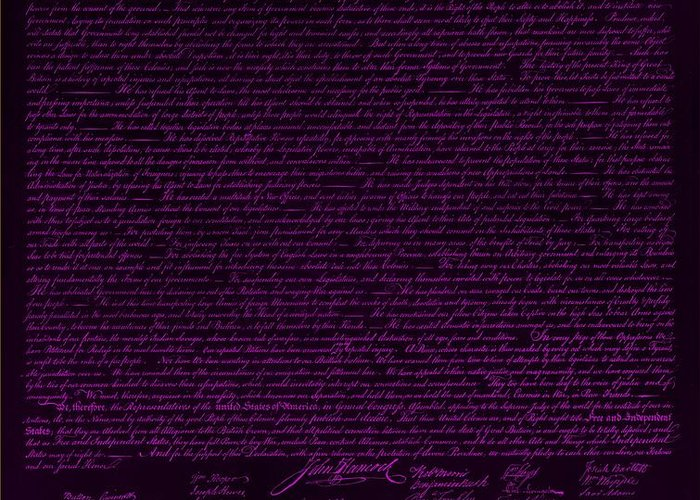 The Declaration Of Independence Greeting Card featuring the photograph The Declaration Of Independence In Negative Purple by Rob Hans