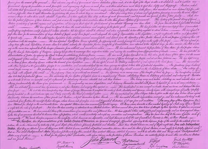 The Declaration Of Independence Greeting Card featuring the photograph The Declaration Of Independence In Pink by Rob Hans
