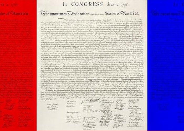 The Declaration Of Independence Greeting Card featuring the photograph The Declaration Of Independence In Red White And Blue by Rob Hans
