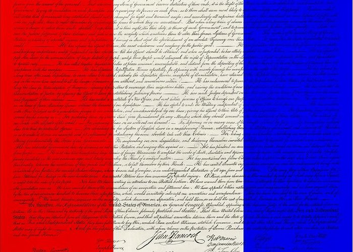 The Declaration Of Independence Greeting Card featuring the photograph The Declaration Of Independence In Red White Blue by Rob Hans