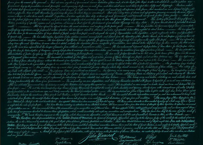 The Declaration Of Independence Greeting Card featuring the photograph The Declaration Of Independence In Turquoise by Rob Hans