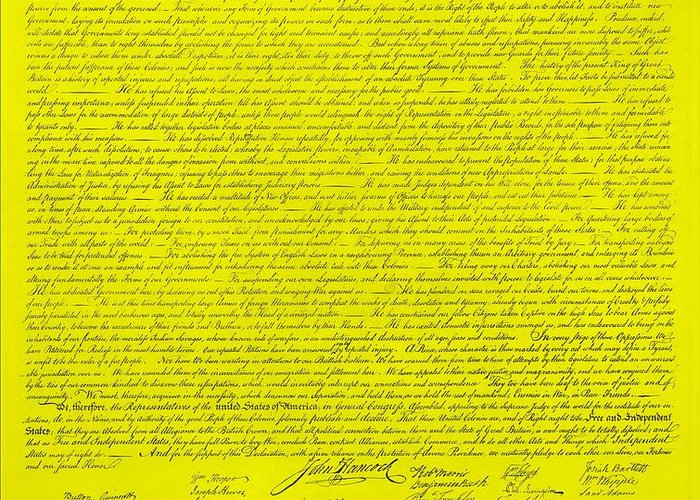The Declaration Of Independence Greeting Card featuring the photograph The Declaration Of Independence In Yellow by Rob Hans
