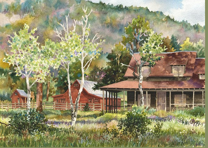 Barn Painting Greeting Card featuring the painting The Delonde Homestead At Caribou Ranch by Anne Gifford