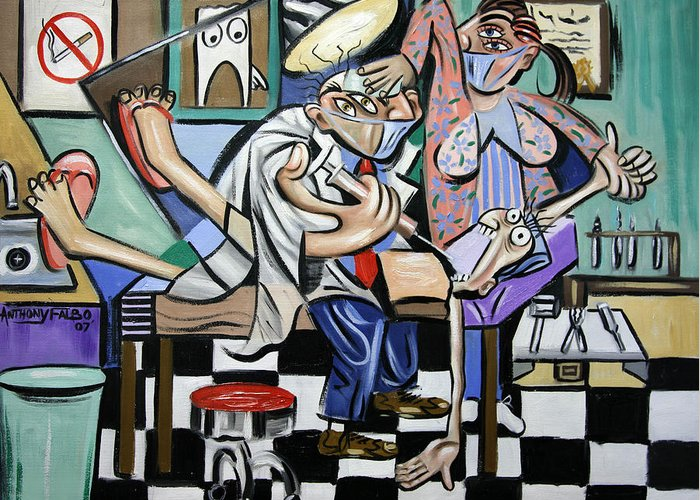 The Dentist Is In Greeting Card featuring the painting The Dentist Is In by Anthony Falbo
