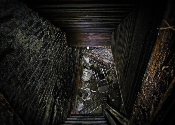 Basement Greeting Card featuring the photograph The Descent by Brett Engle