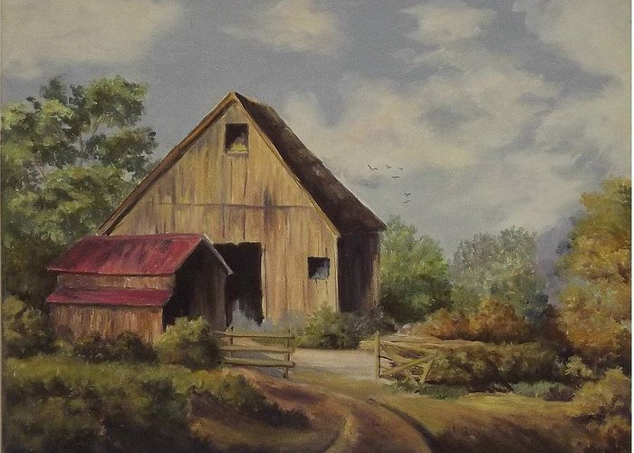 Landscape Greeting Card featuring the painting The Deserted Barn by Wanda Dansereau