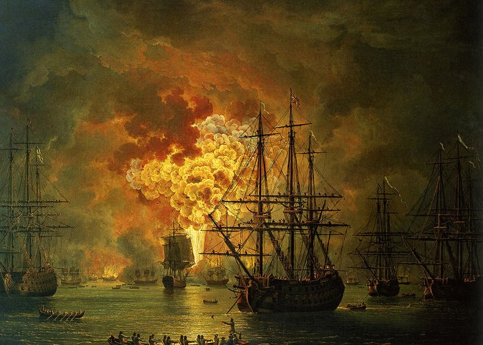 Sea Greeting Card featuring the painting The Destruction Of The Turkish Fleet At The Bay Of Chesma by Jacob Philippe Hackert
