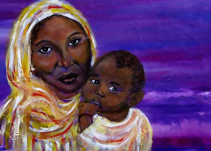 Mother And Child Greeting Card featuring the painting The Devotion Of A Mother's Love by The Art With A Heart By Charlotte Phillips