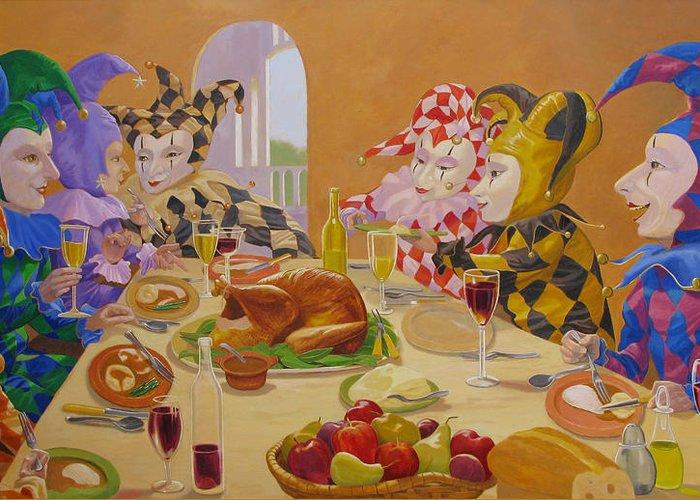 Leonard Filgate Greeting Card featuring the painting The Dinner Party by Leonard Filgate