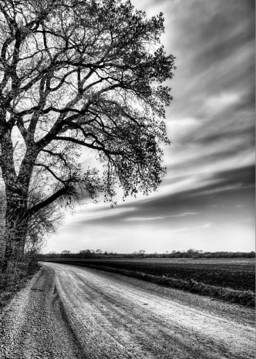 Kansas Greeting Card featuring the photograph The Dirt Road In Black And White by JC Findley
