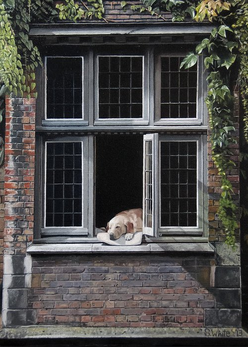 Dog Greeting Card featuring the painting The Dog of Bruges by Scot White