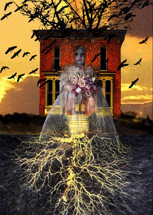 Surrealism Greeting Card featuring the digital art The Doll House by Larry Butterworth
