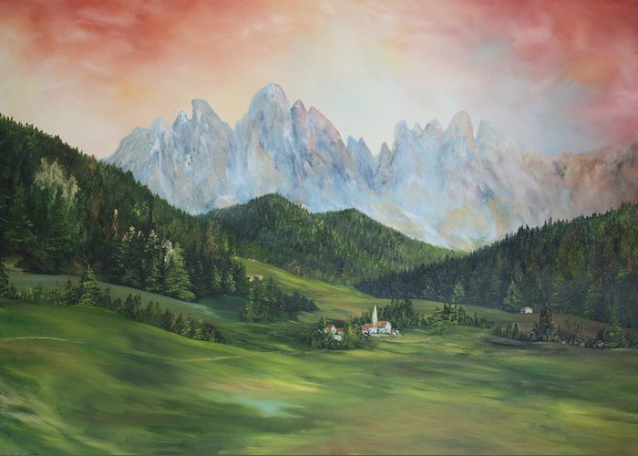 Dolomite Greeting Card featuring the painting The Dolomites Italy by Jean Walker