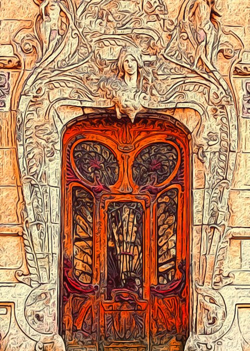 Art Greeting Card featuring the painting The Door by Jack Zulli
