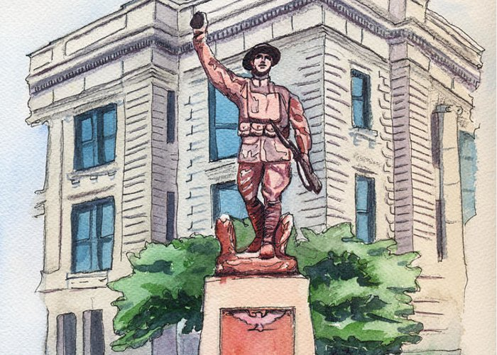 Doughboy Statue Greeting Card featuring the painting The Doughboy Statue by Katherine Miller