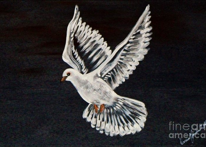Bird Greeting Card featuring the painting The Dove by Doreen Karales Zonts