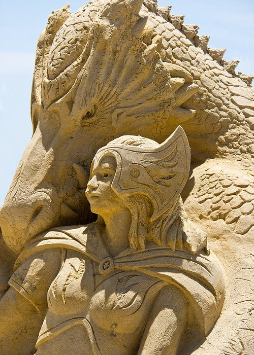 Sand Castle Greeting Card featuring the photograph The Dragon And The Goddess by Tom Gari Gallery-Three-Photography