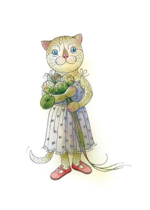 Cat Flowers Blue Greeting Card Greeting Card featuring the painting The Dream Cat 01 by Kestutis Kasparavicius