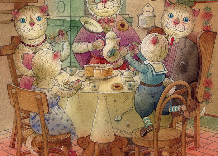 Breakfast Morning Cat Kirchen Red Dream Greeting Card featuring the painting The Dream Cat 08 by Kestutis Kasparavicius