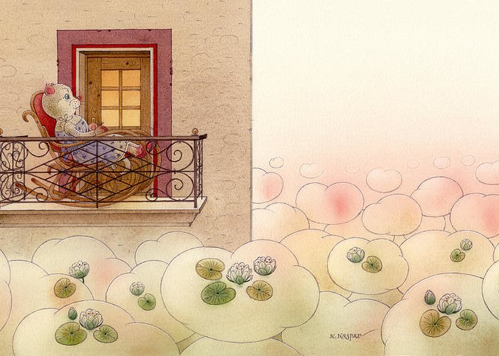 Cat Dream Clouds Evening Rose Flowers Water Lilies Relax Greeting Card featuring the painting The Dream Cat 09 by Kestutis Kasparavicius