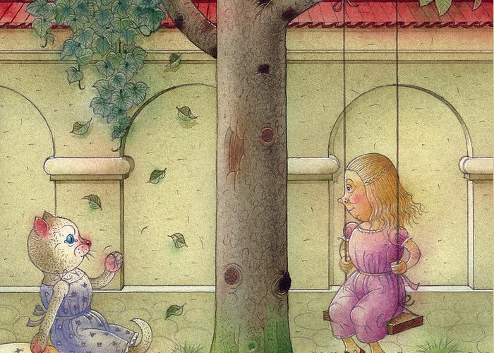Cat Girl Garden Tree Green Children Greeting Card featuring the painting The Dream Cat 14 by Kestutis Kasparavicius