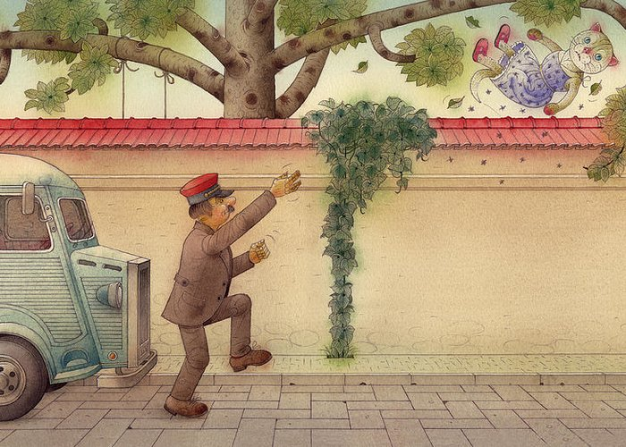 Cat Street Green Car Tree Driver Children Greeting Card featuring the painting The Dream Cat 15 by Kestutis Kasparavicius