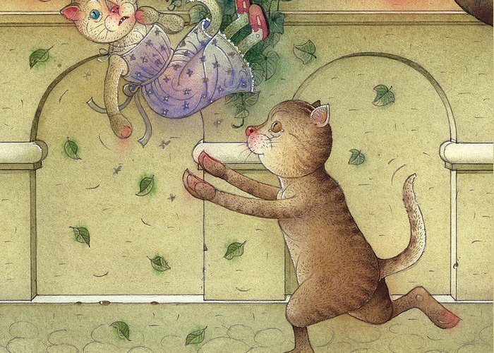 Cat Fantasy Garden Children Green Tree Greeting Card featuring the painting The Dream Cat 16 by Kestutis Kasparavicius